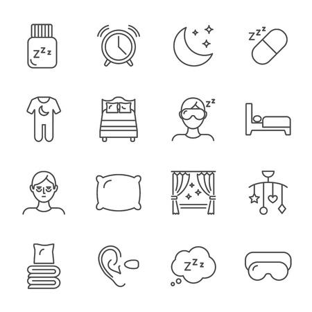 Sleep set of vector icons line style Illustration