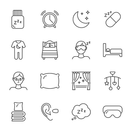Sleep set of vector icons line style Illustration