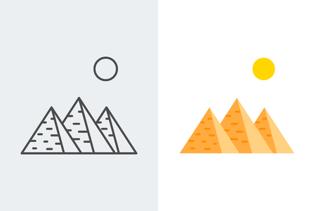 Egypt, pyramids line and flat style icons Illustration