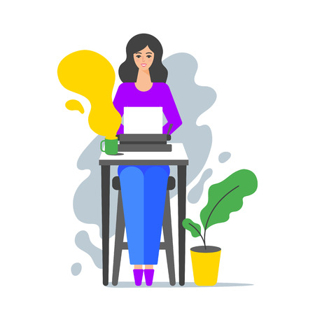 Vector illustration of woman sitting at the table and typing on the typewriter