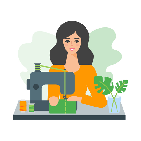 Vector illustration of a woman using sewing machine