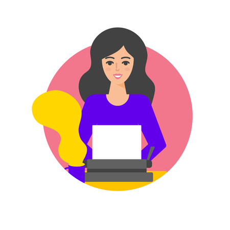 Vector illustration of woman typing on the typewriter. Ilustração