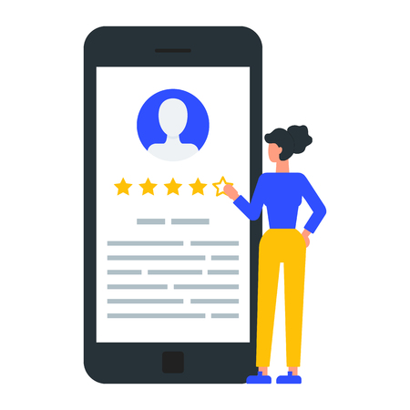 Woman giving five star rating, user reviews. Illustration