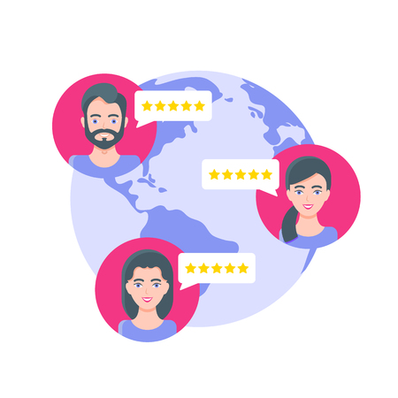 User reviews from people around the world, rating, customers feedback. Illustration