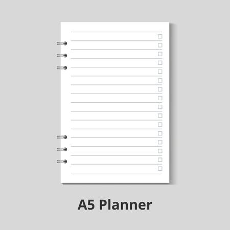 A5 planner to do list vector mock up. Illustration