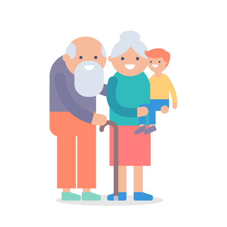 Vector illustration of grandparents with a child