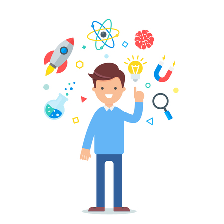 Vector illustration of a scientist, science and education