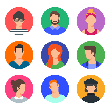 Vector set of avatars, male and female character flat style