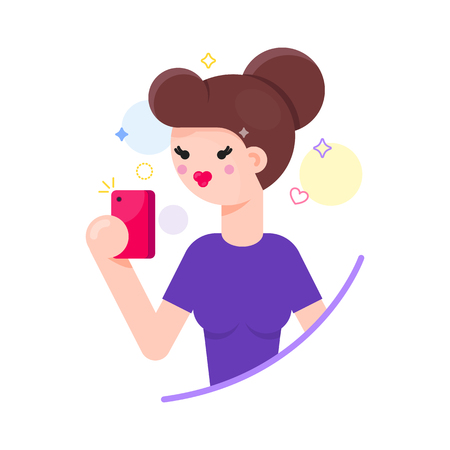 Girl taking a shot, selfie with her smartphone vector illustration. Illustration