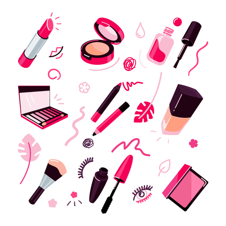 Cosmetics vector illustration, make up objects flat style