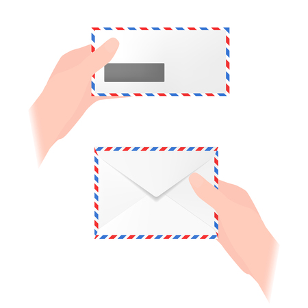 Vector illustration of hands holding airmail envelopes