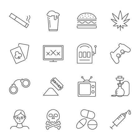 Addictions set of vector icons outline style