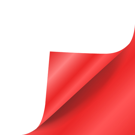Red paper curled corner vector mock up.