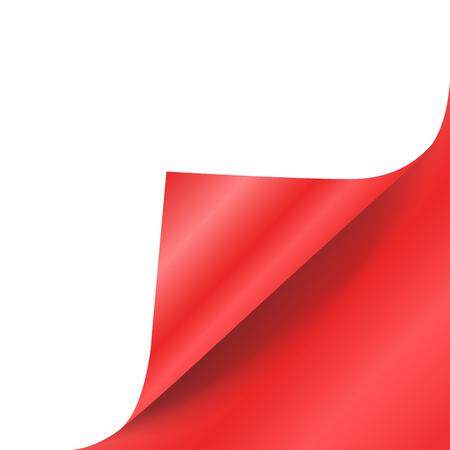 Red paper curled corner vector mock up.