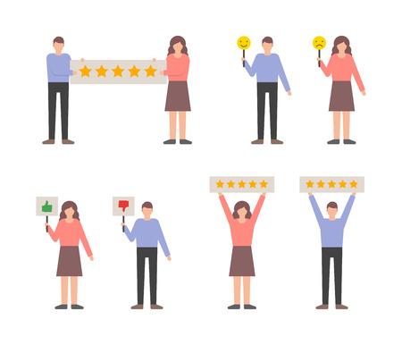 Gebruikersrecensies feedbackset, klanten geven beoordelingen vector illustratie. Stock Illustratie