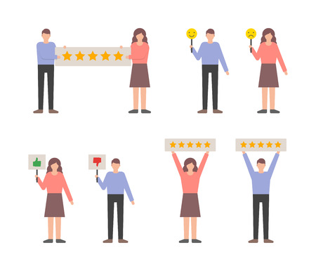 User reviews feedback set, customers giving ratings vector illustration.