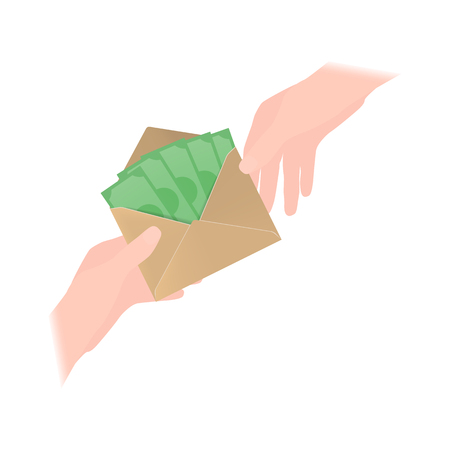 Vector illustration of one person giving an envelope with money to another person