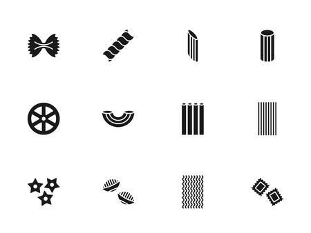 Pasta silhouettes icons set