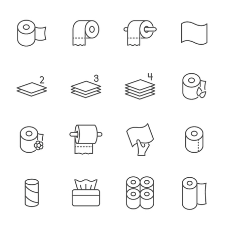 Toilet paper set of vector icons outline style