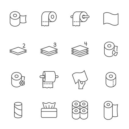 Ensemble de papier hygiénique du style de contour des icônes vectorielles