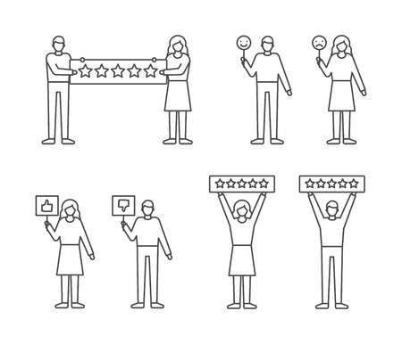 User reviews feedback set, customers giving ratings vector illustration outline style.