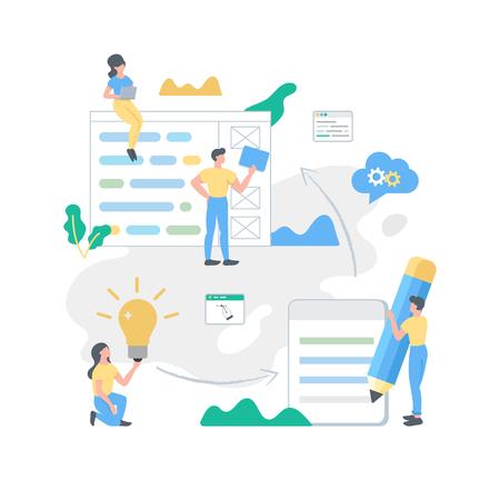 Web development building process vector illustration, creative process, teamwork