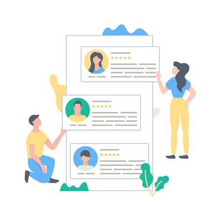 User reviews and feedback building process concept vector illustration