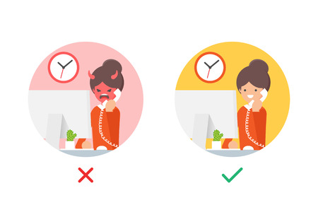Angry and happy customer vector illustrations