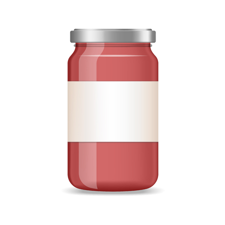 Realistic red jar of jam, juice with label vector mockup