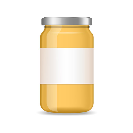 Realistic yellow jar of jam, juice with label vector mockup
