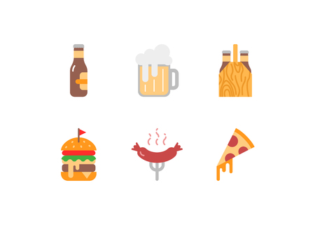 Beer and snacks vector icons set, falt style