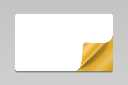 Blank white sticker with gold curled corner, realistic mockup Illustration