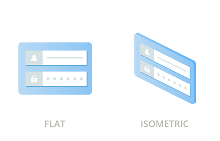 Login form flat and isometric vector icons