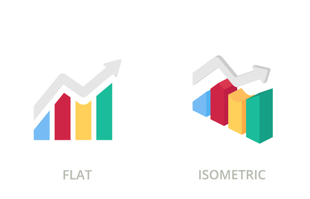 Graph, chart flat and isometric vector icons