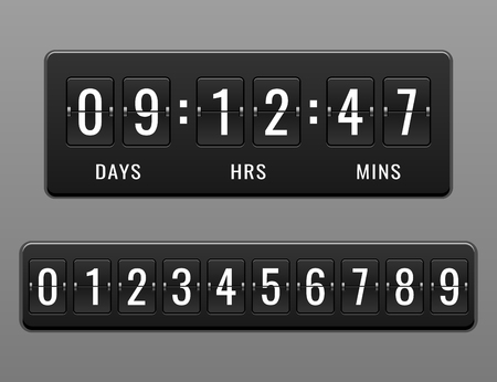 Mechanical countdown timer and scoreboard vector for website