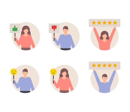 User reviews feedback set, customers giving ratings vector illustration