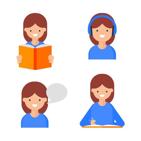 読書、書き込み、話す、聞く。言語学習アイコン、フラットスタイル