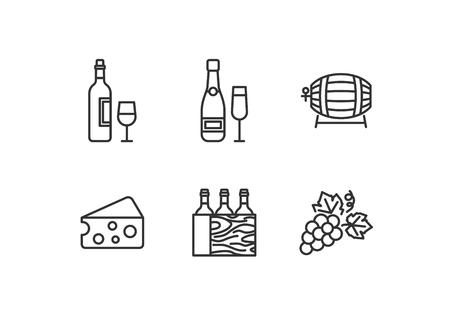 Conjunto de vino de estilo de contorno de iconos vectoriales Ilustración de vector