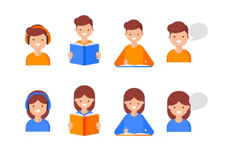 Leer, escribir, hablar, escuchar. Iconos de aprendizaje de idiomas, estilo plano. Personajes femeninos y masculinos