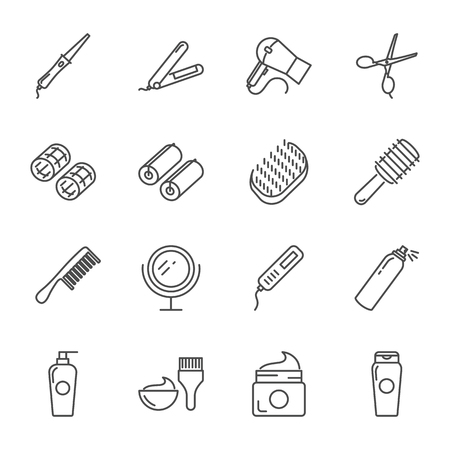 Hair care and tools vector icons set outline style