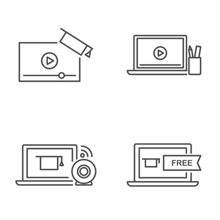 Online education and tutorials vector icons outline style