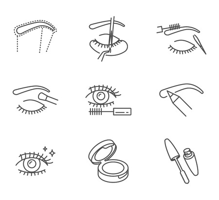 Eye makeup and cosmetology vector icons set outline style