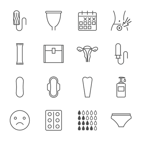 Menstruation vector icons set outline style
