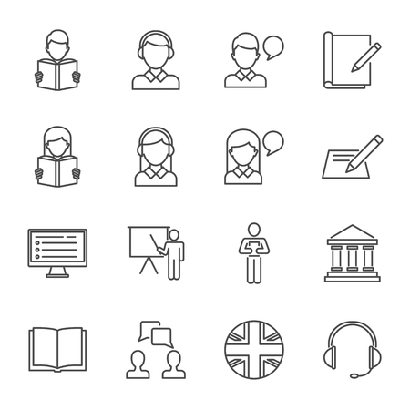 English-language test, language learning set of vector icons outline style