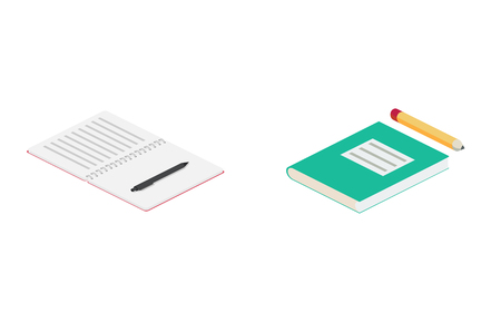 Books isometric vector icons Ilustração