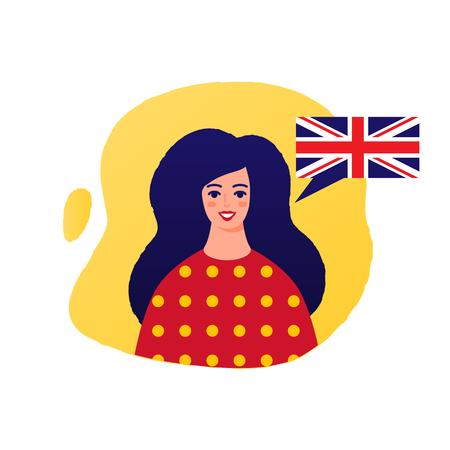 Learn English vector illustration, female character Stock Illustratie