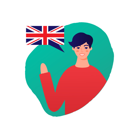 Learn English vector illustration, male character Stock Illustratie