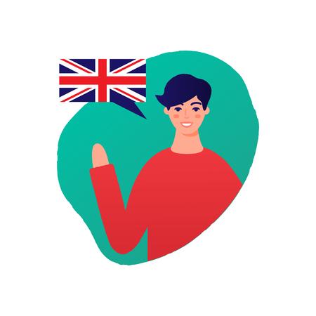 Learn English vector illustration, male character Ilustração