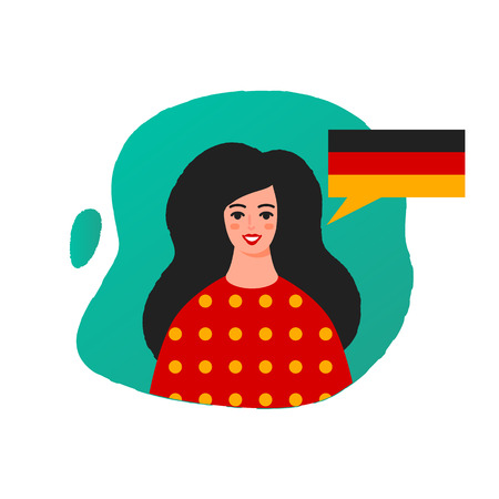 Learn German vector illustration, female character Stock Photo