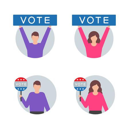 Votez, votez des illustrations vectorielles avec du caractère Vecteurs